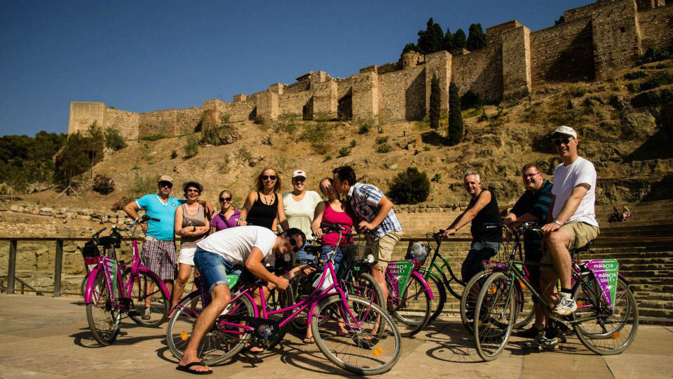 Bike Tour Malaga in front of Alcazaba