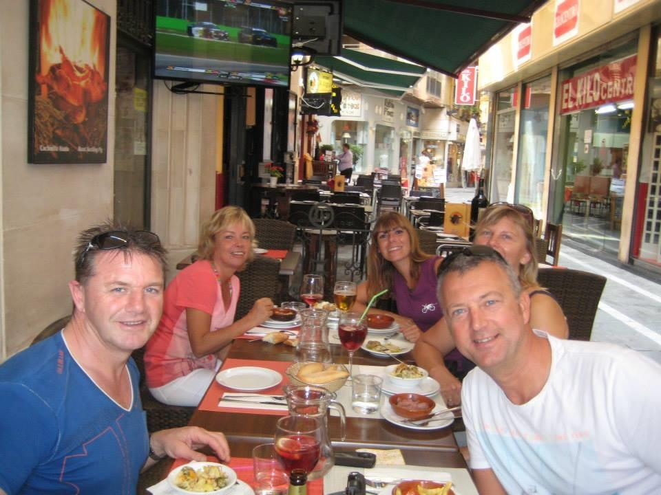 Bike Tour Group Enjoying tapas in Malaga