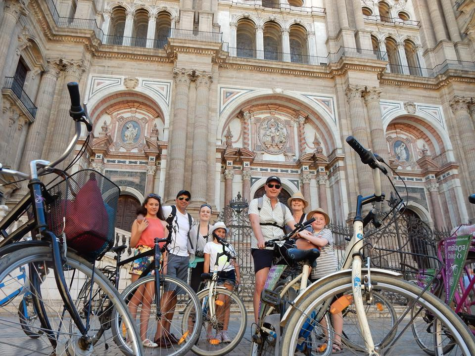 Bike Tour in front of Malaga Cathedral