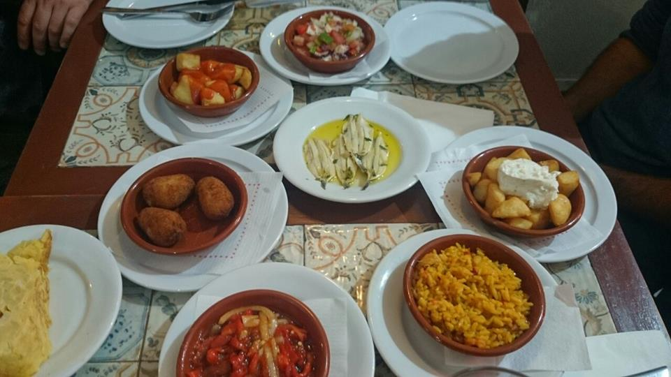 Tapas on the table in Malaga