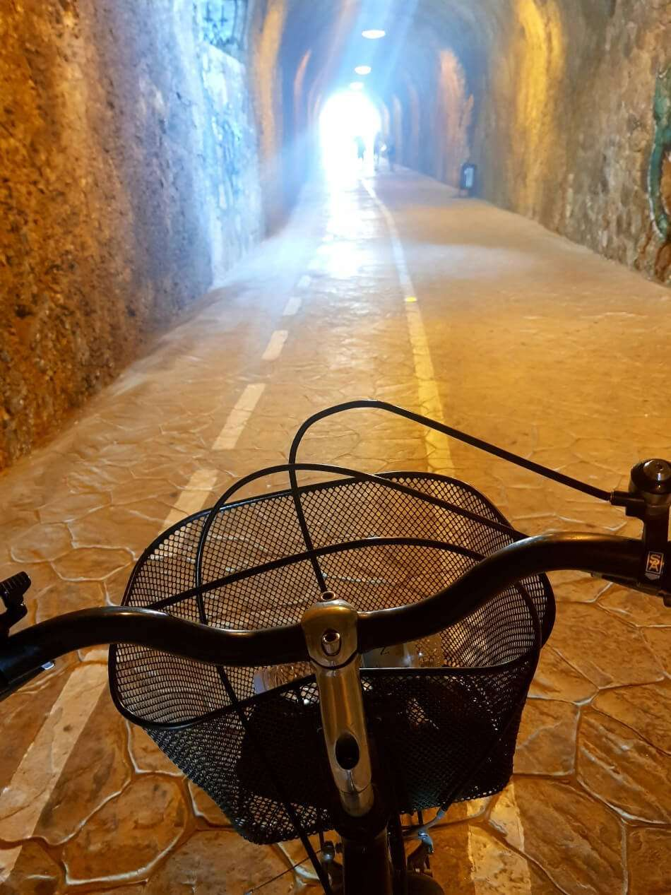 Cycling through the tunnels to get to Rincon de la Victoria in Malaga