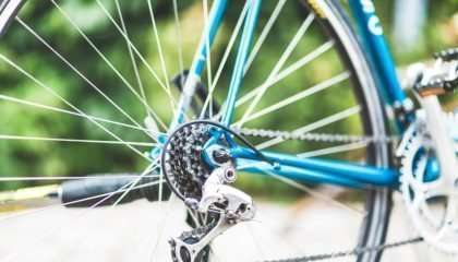 Closeup of a bike's wheel
