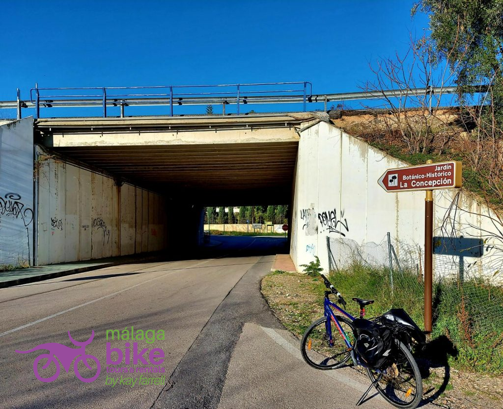 Cycling through the tunnel to get to the Botanical Gardens in Malaga