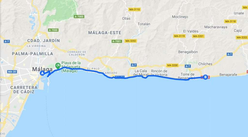Map of cycling route going east from Malaga to Fuengirola