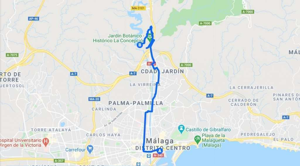 Map of cycling route going north to the Botanical Gardens and the Limonero Dam