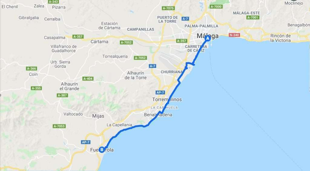 Map of cycling route going west from Malaga to Fuengirola