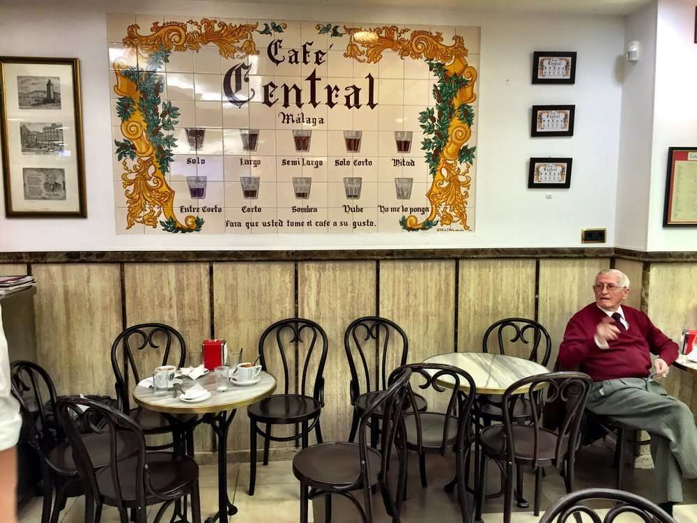 Cafe Central in Malaga-famous for the creation of the café ordering in the city.